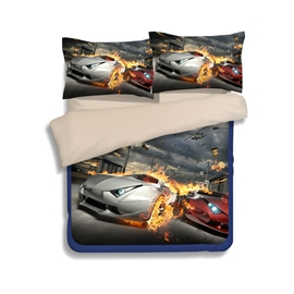 Stunning Automobile Race Print 4-Piece Polyester Duvet Cover Sets