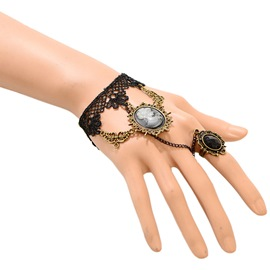 Ericdress Beauty Head Design Black Lace Bracelet with Ring