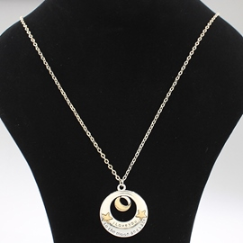 Ericdress Star & Moon Love MOM Design Pendant Necklace