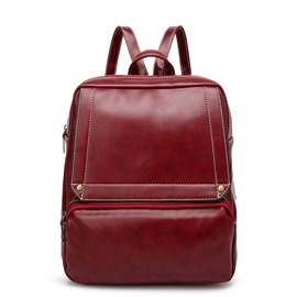 Ericdress Korean Candy Color Waxy Leather Backpack