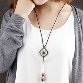 Ericdress Ethnic Style Ceramic Sweater Chain Necklace