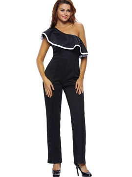 Ericdress Oblique Collar Tight Women's Jumpsuits