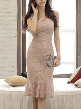 Ericdress Soild Color Mermaid Lace Dress
