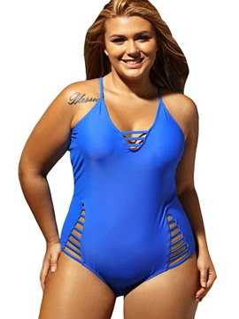 Ericdress Plain Hollow Cross Strap Plus Size Monokini