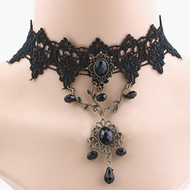 Ericdress Gothic Style Black Lace Choker Necklace