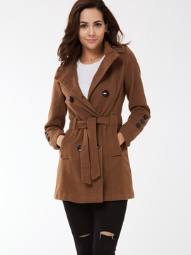 Ericdress Plain Slim Belt Casual Trench Coat