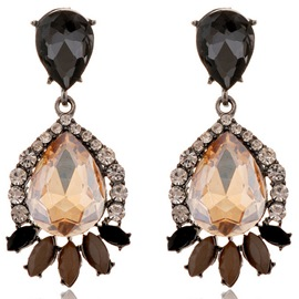 Ericdress Champagne Water Drop Shaped Gemstone Earrings