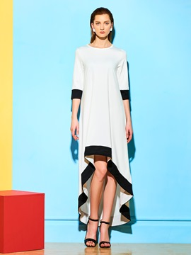 Ericdress Color Block Asymmetric Casual Dress