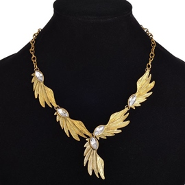 Ericdress Pearl inlaid Angel Wing Design Necklace