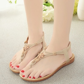 Ericdress Ethnic Beads Clip Toe Slingback Flat Sandals