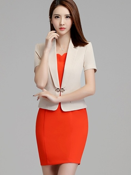 Ericdress OL Notched Lapel Short Sleeve Dress Formal Suit