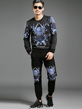 Ericdress Two-Piece of Crew Neck Print Men's Suit