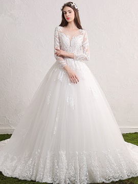 Ericdress Charming Scoop Appliques Ball Gown Long Sleeves Wedding Dress