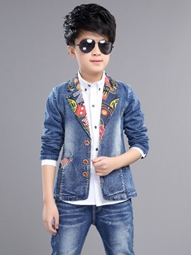 Ericdress Notched Lapel Denim Boys Outfit