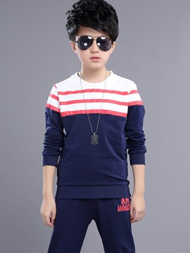 Ericdress Stripe Round Neck Leisure Boys Outfit