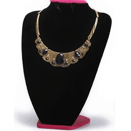 Ericdress Oval Gemstone Inlaid Metal Texture Short Necklace