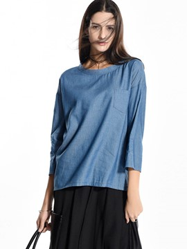 Ericdress Plain Loose Nine Points Sleeve Blouse