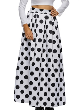 Ericdress Polka Dots Pleated High-Waist Expansion Skirt