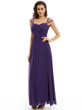Ericdress Square Neck Cap Sleeves A Line Evening Dress