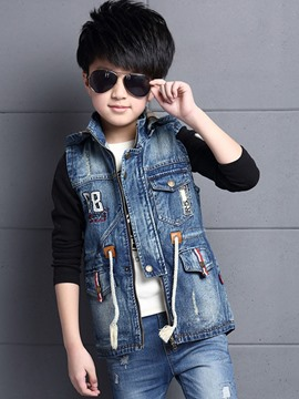 Ericdress Appliques Hooded Denim Spring Boys Vest