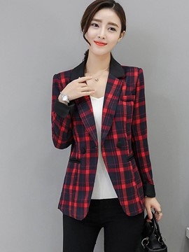 Ericdress Slim Plaid Color Block Blazer