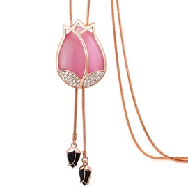 Ericdress Pink Tulip Pendant Long Tassels Necklace