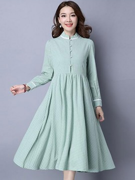 Ericdress Pastoral Single-Breasted Plaid Pleated Maxi Dress