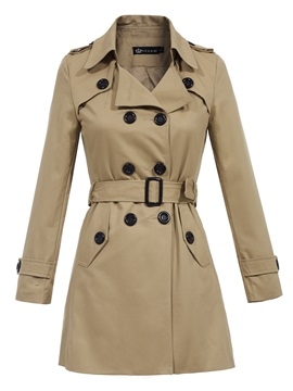 Ericdress Plain Lapel Belt Double-Breasted Trench Coat