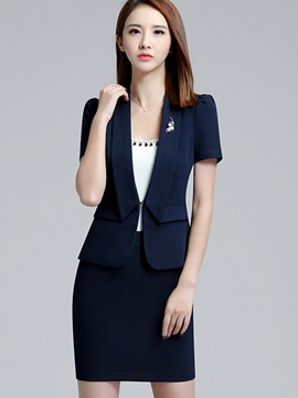 Ericdress OL Plain Color Lapel Short Sleeve Bodycon Formal Suit