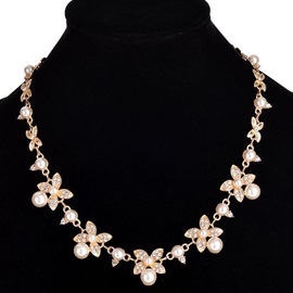 Ericdress Charming Pearl Flowers E-Plating Necklace