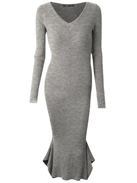 Ericdress Acrylic Mermaid V-Neck Pullover Plain Women's Bodycon Dress