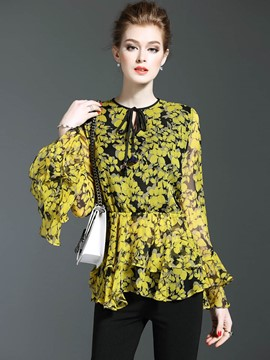 Ericdress Pelplum Double Layer Floral Print Blouse
