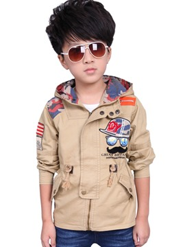 Ericdress Appliques Patchwork Hooded Boys Jacket