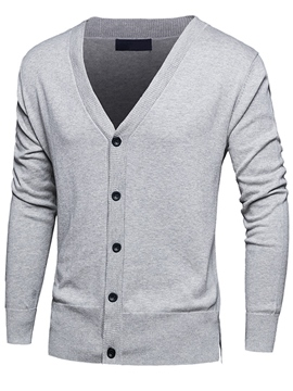 Ericdress Solid Color V-Neck Slit Cardigan Casual Men's Sweater