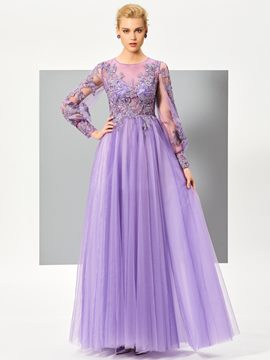 Ericdress Fresh Long Sleeve Applique Lace Floor Length Long Evening Dress