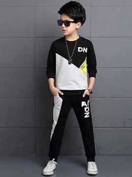 Ericdress Color Block Letter Casual Boys Outfit