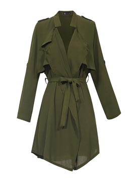Ericdress Plain Ruffled Collar Trench Coat