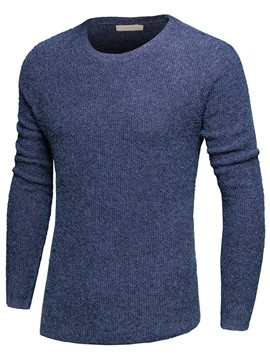 Ericdress Solid Color Round Neck Slim Men's Sweater