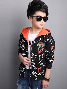 Ericdress Notes Printed Hooded Boys Jacket