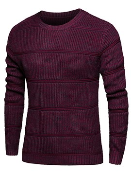 Ericdress Solid Color Pullover Round Neck Slim Men's Sweater