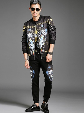Ericdress Two-Piece of Zip Vintage Print Men's Suit