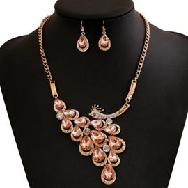 Ericdress Champagne Peacock Design Two-Pieces Jewelry Set