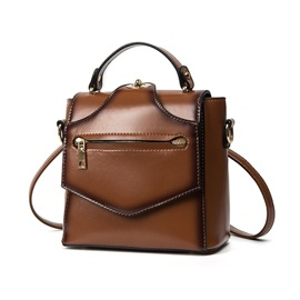 Ericdress Korean Twisted Lock Waxy Leather Shoulder Bag