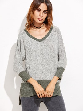 Ericdress V-Neck Color Block Split Side Knitwear