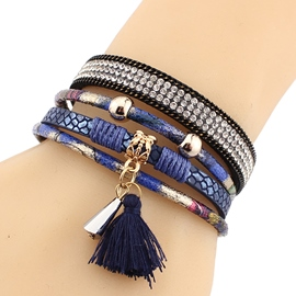 Ericdress Leather Magnetic Buckle Multilayer Tassels Bracelet