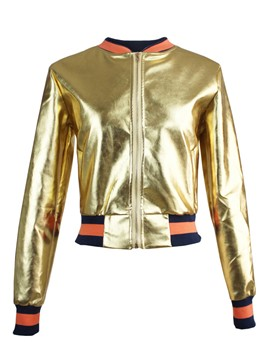 Ericdress Golden PU Crop Jacket