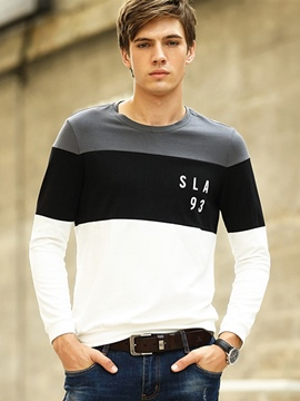 Ericdress Color Block Long Sleeve Slimming Men's T-Shirt