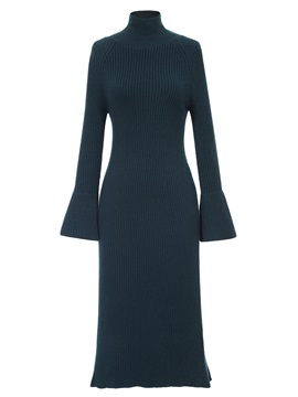 Ericdress Turtleneck Bell Sleeve Mid-Calf Sweater Dress