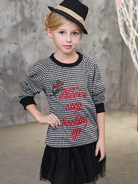 Ericdress Houndstooth Letter Embroidery Girls Hoodie