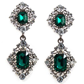 Ericdress Geometric Green Gemstones Inlaid Women's Earrings
